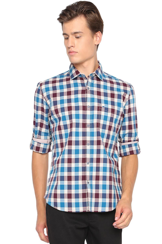 Basics | Basics Slim Fit Celestial Blue Checks Shirt