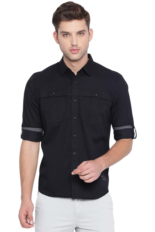 Basics | Basics Slim Fit Meteorite Black Twill Shirt