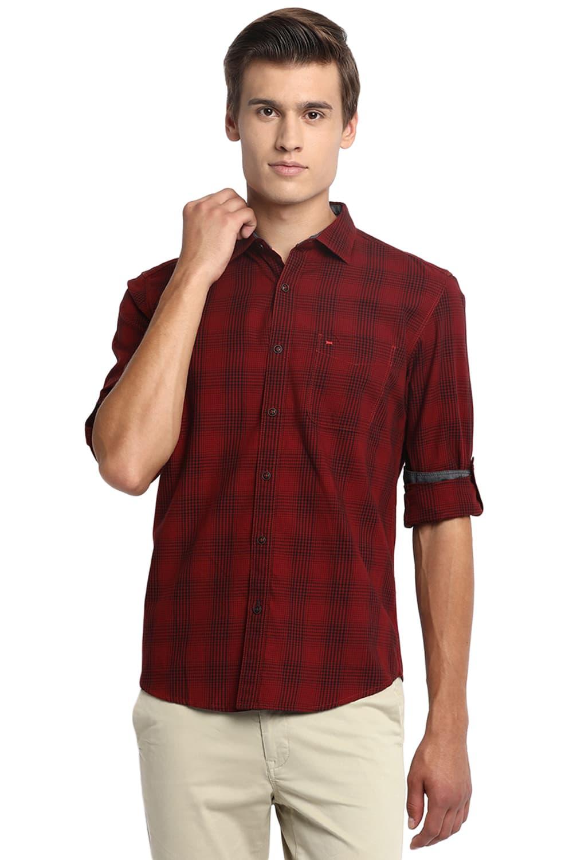 Basics | Basics Slim Fit Dahlia Red Checks Shirt