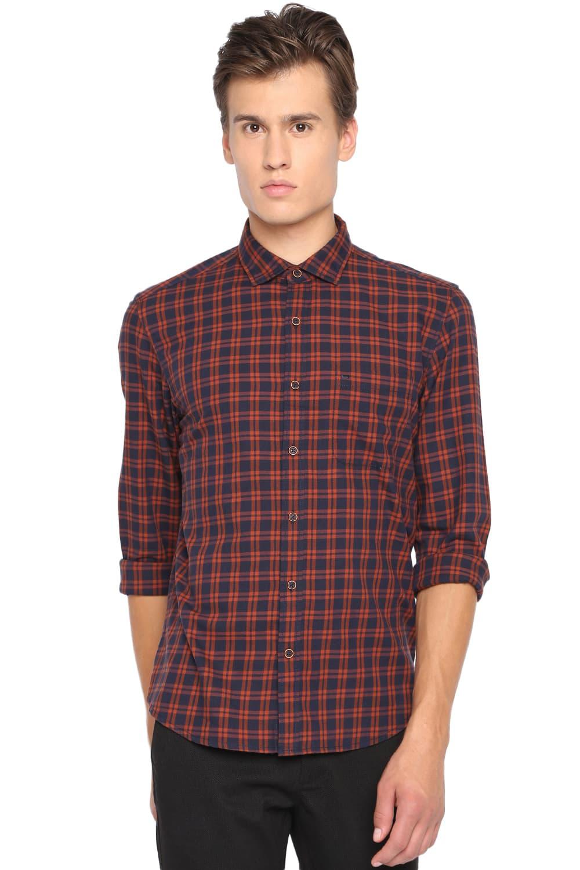 Basics | Basics Slim Fit Umber Brown Checks Shirt