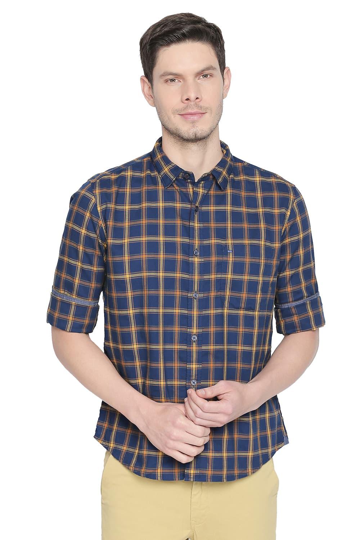 Basics | Basics Slim Fit Citrus Yellow Checks Shirt