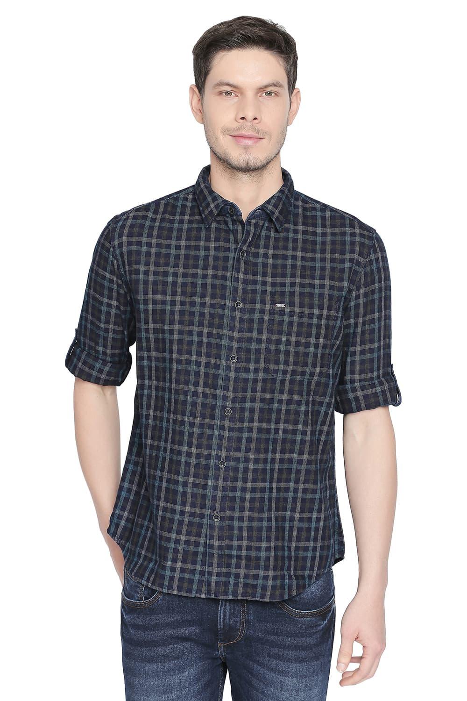 Basics   Basics Slim Fit Deep Lake Green Indigo Checks Shirt