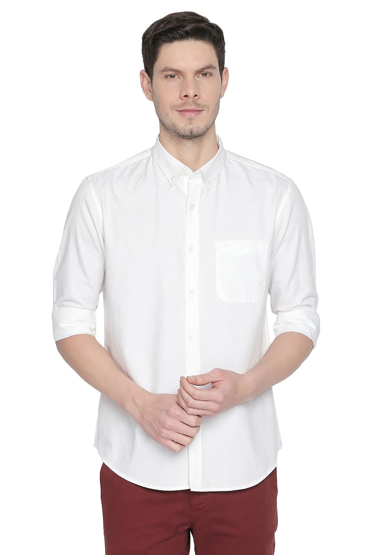 Basics   Basics Slim Fit Cloud White Oxford Shirt