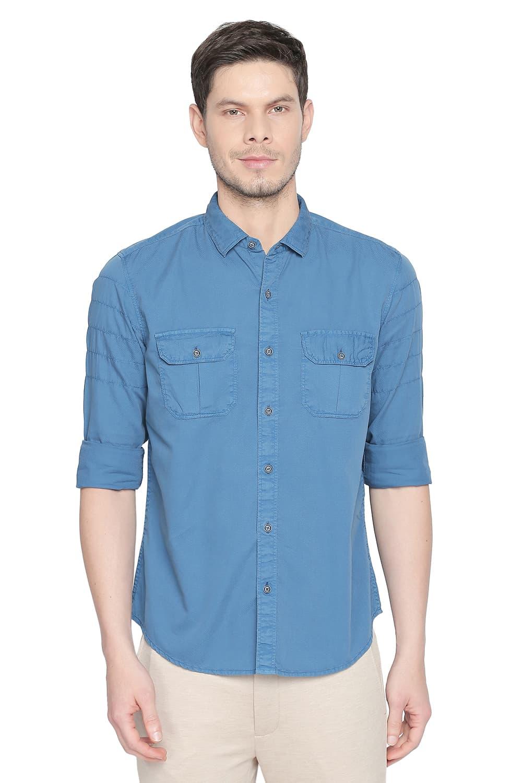 Basics   Basics Slim Fit Seaport Blue Garment Dyed Dobby Shirt