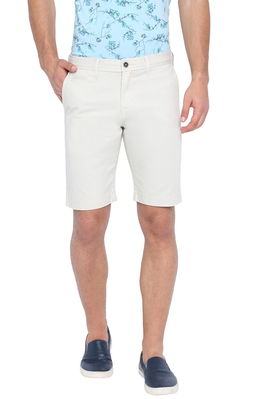 Basics | Basics Comfort Fit Oyster Grey Over Dyed Cotton Shorts