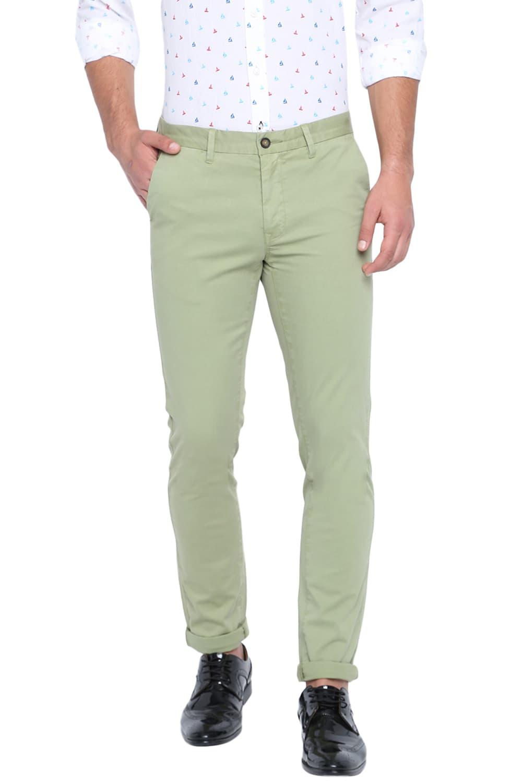Basics   Basics Skinny Fit Sage Green Stretch Trouser