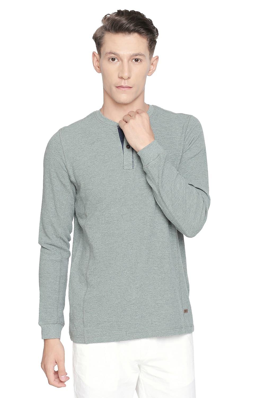 Basics | Basics Muscle Fit Balsam Heather Henley Long Sleeve T Shirt