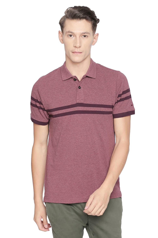 Basics   Basics Muscle Fit Burgundy Engineered Stripes Polo T Shirt