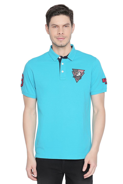 Basics   Basics Muscle Fit Blue Bird Trendy Polo T Shirt