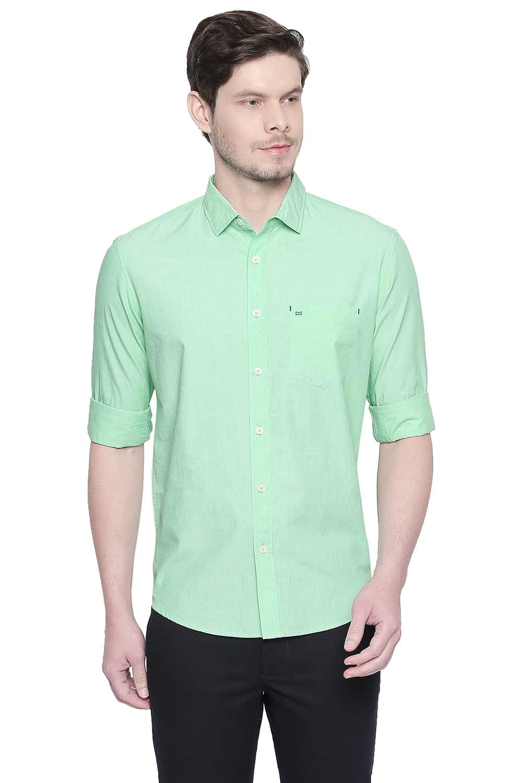 Basics | Basics Slim Fit Green Ash Fil a Fil Shirt