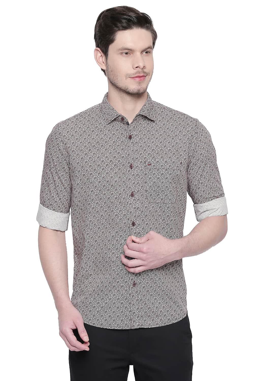 Basics | Basics Slim Fit Red Mahogany Printed Shirt