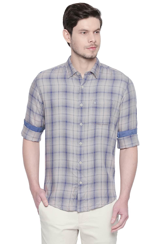 Basics | Basics Slim Fit Semolina Khaki Modal Checks Shirt