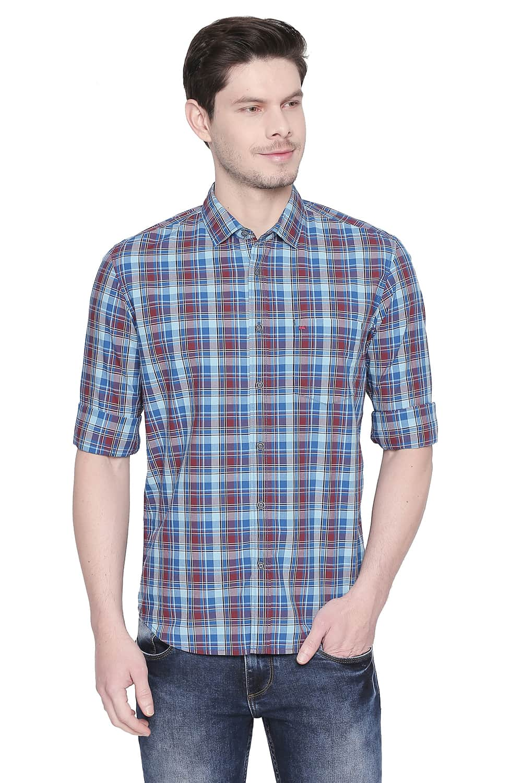 Basics | Basics Slim Fit Blue Grotto Checks Shirt