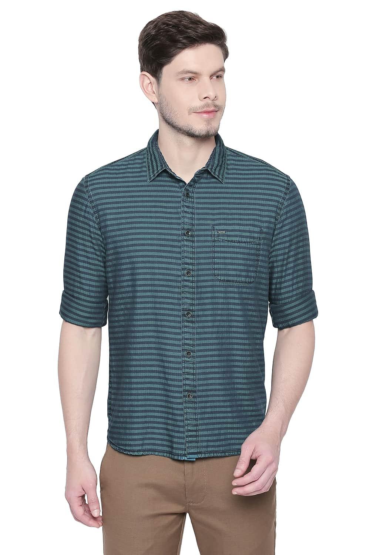 Basics | Basics Slim Fit Columbia Green Indigo Weft Stripes Shirt