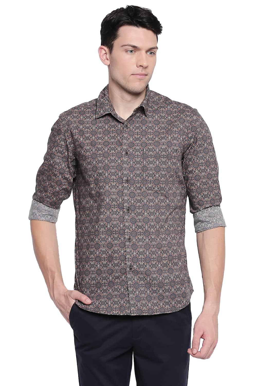 Basics | Basics Slim Fit Chocolate Brown Poplin Digital Printed Shirt
