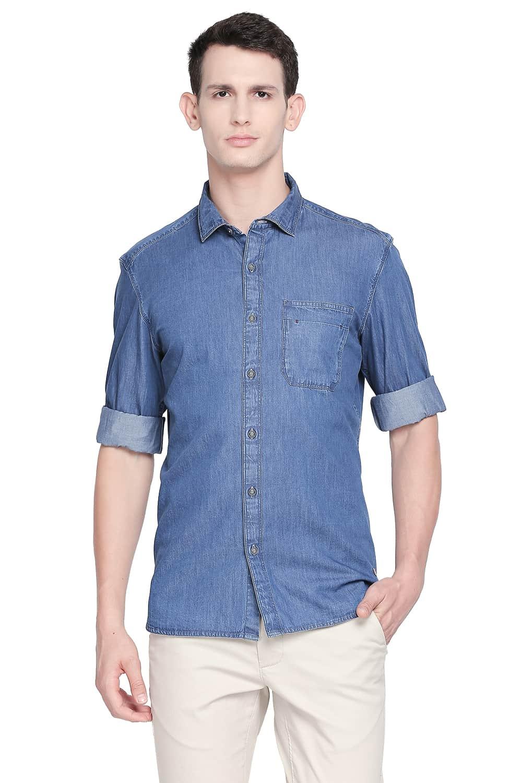 Basics   Basics Slim Fit Ensign Navy Indigo Shirt