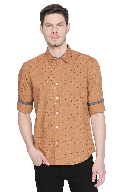Basics | Basics Slim Fit Bone Brown Printed Shirt