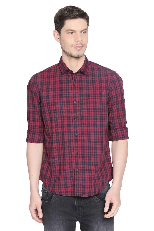 Basics   Basics Slim Fit Claret Red Checks Shirt