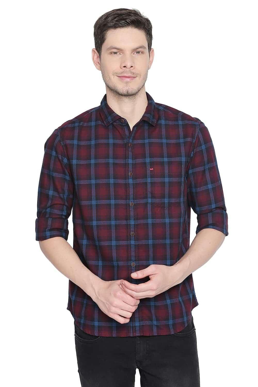 Basics | Basics Slim Fit Cordovan Maroon Checks Shirt