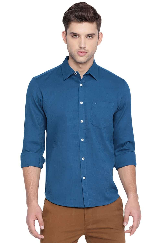 Basics | Basics Slim Fit Moroccan Blue Structure Shirt