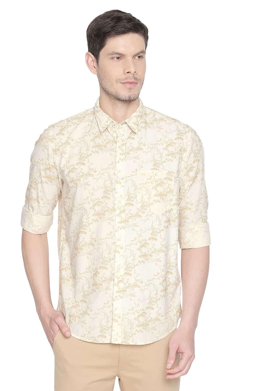 Basics | Basics Slim Fit Jojoba Yellow Printed Shirt