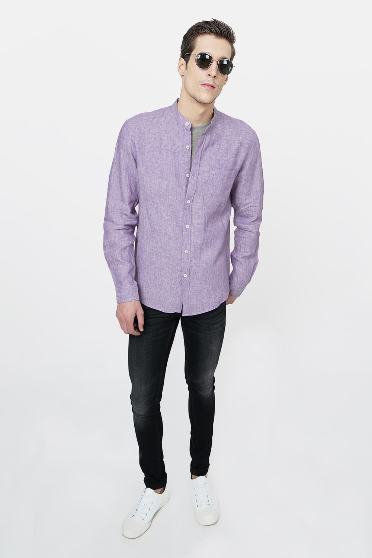 Basics   Basics Slim Fit Purple Linen Shirt-20BSH46441