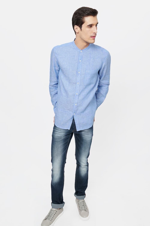 Basics   Basics Slim Fit Blue Linen Shirt-20BSH46443