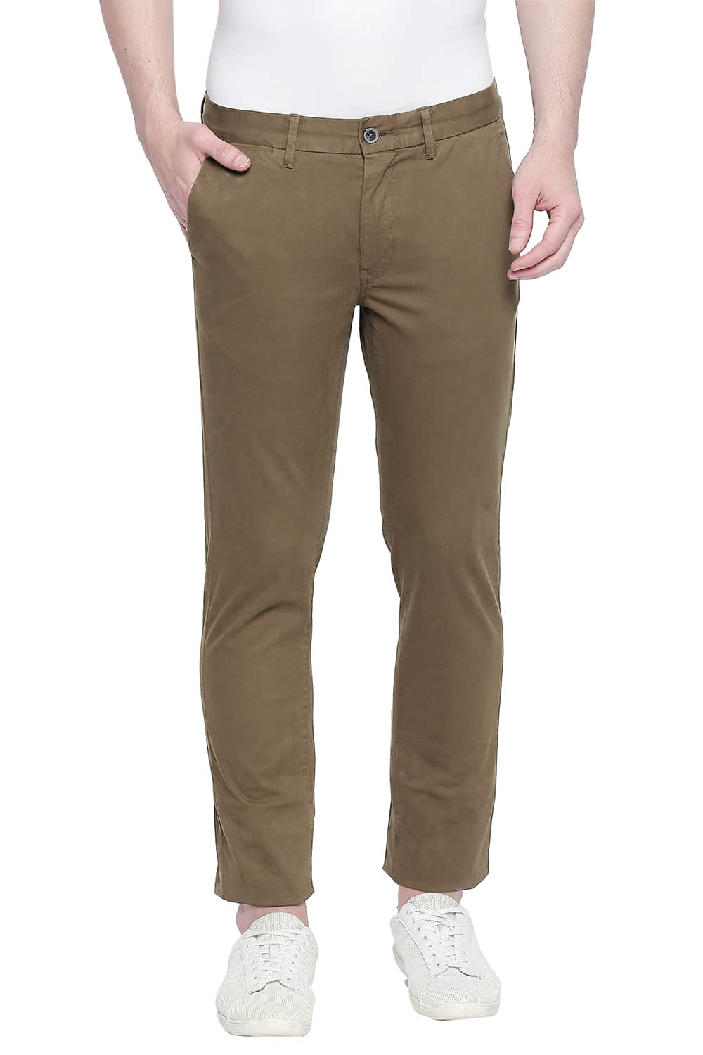 Basics | Basics Tapered Fit Bronze Brown Over Dyed Trouser