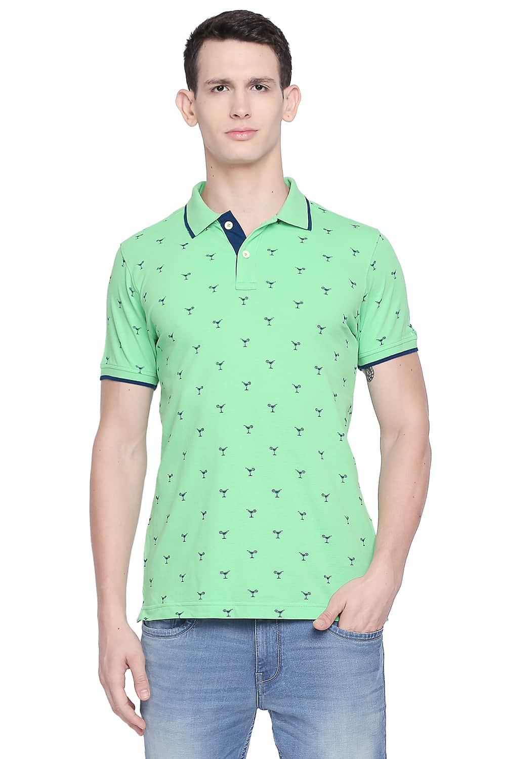 Basics | Basics Muscle Fit Spring Bouquet Printed Polo T Shirt