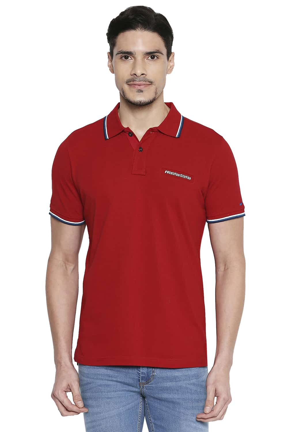 Basics | Basics Muscle Fit Scooter Red Polo T Shirt