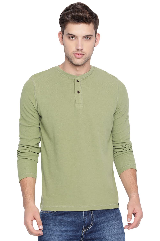 Basics   Basics Muscle Fit Iguana Green Henley T Shirt-20BTS46073