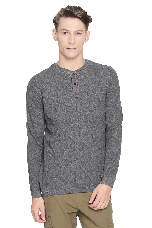 Basics | Basics Muscle Fit Charcoal Heather Henley Long Sleeve T Shirt-20BTS46103
