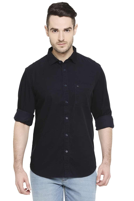 Basics   Basics Slim Fit Dark Navy Corduroy Shirt