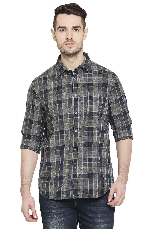 Basics | Basics Slim Fit Moon Mist Grey Checks Shirt