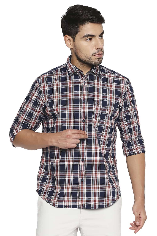 Basics | Basics Slim Fit Night Navy Checks Shirt
