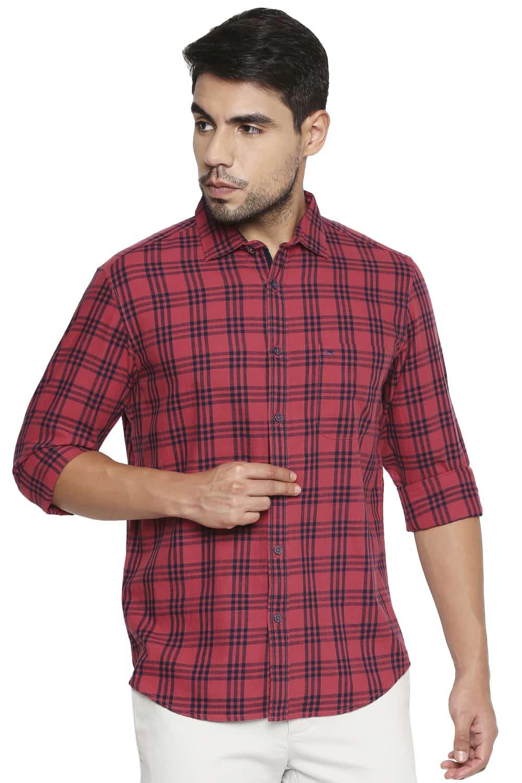 Basics   Basics Slim Fit Cranberry Red Checks Shirt