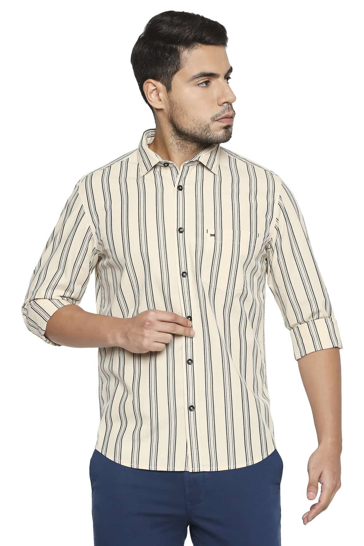 Basics | Basics Slim Fit Macadamia Yellow Stripe Shirt