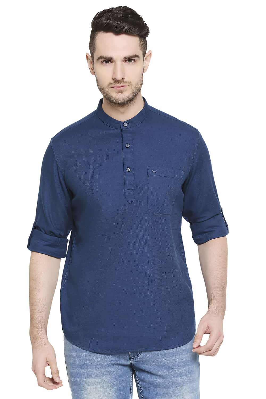 Basics   Basics Slim Fit Moroccan Blue Dobby Shirt