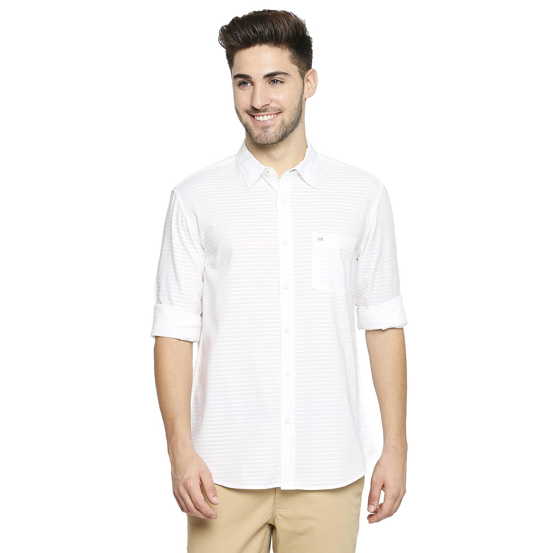 Basics   BASICS CASUAL SELF WHITE 100% COTTON SLIM SHIRT -21BSH45659