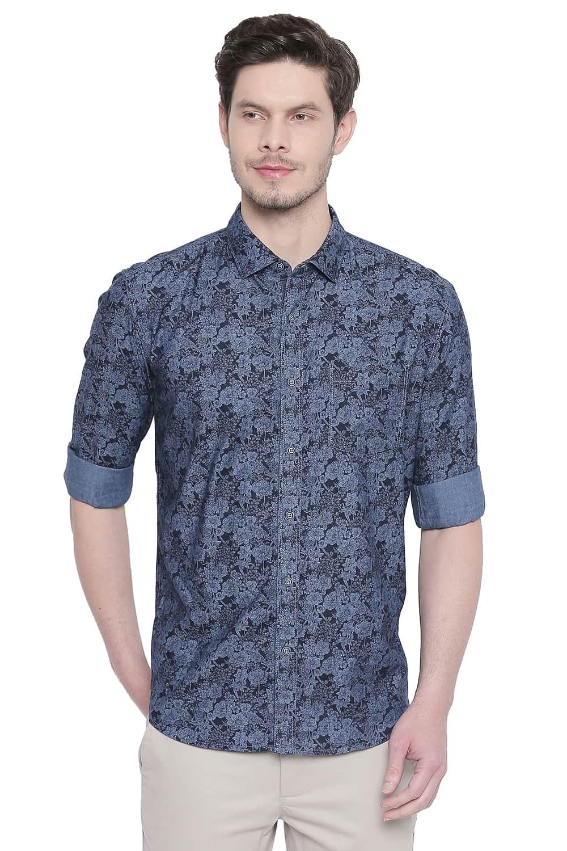 Basics   Basics Slim Fit Dark Sapphire Indigo Printed Shirt