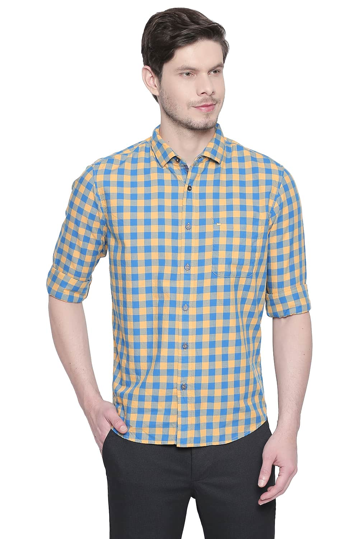 Basics | Basics Slim Fit Beeswax Yellow Twill Checks Shirt