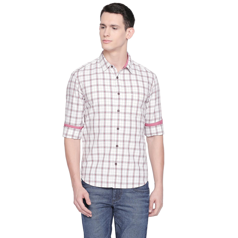 Basics | Basics Slim Fit Blanc White Twill Checks Shirt-21BSH47760