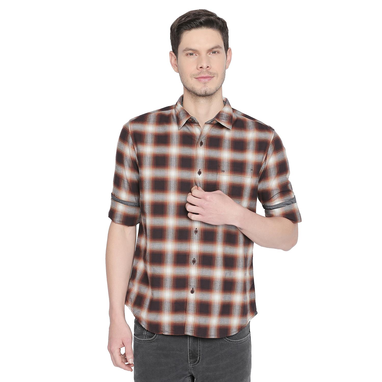 Basics | Basics Slim Fit Roast Brown Checks Shirt-21BSH47843