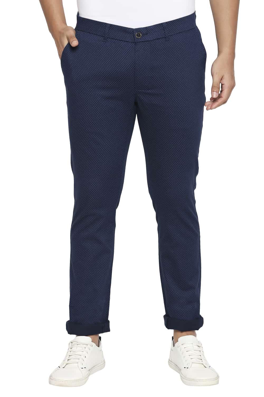 Basics | Basics Tapered Fit Reflecting Navy Stretch Trouser