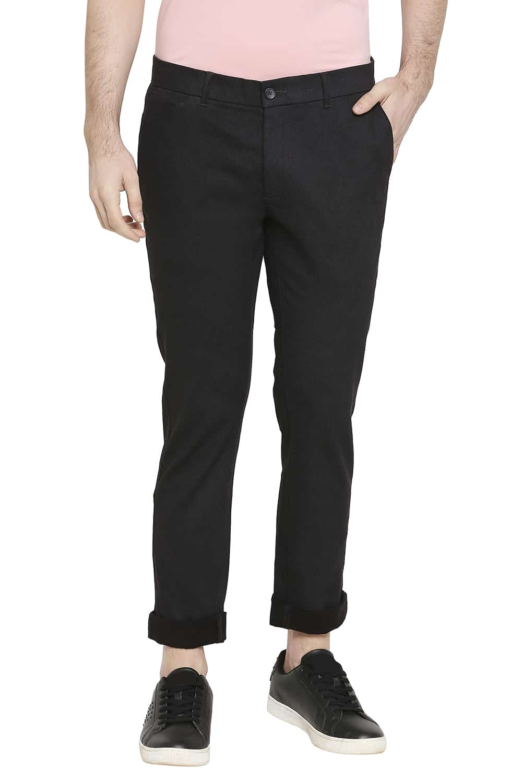 Basics   Basics Tapered Fit Iron Black Satin Stretch Trousers