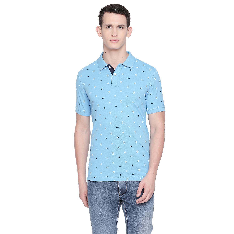 Basics | Basics Muscle Fit Bonnie Blue Printed Polo T Shirt-21BTS48048