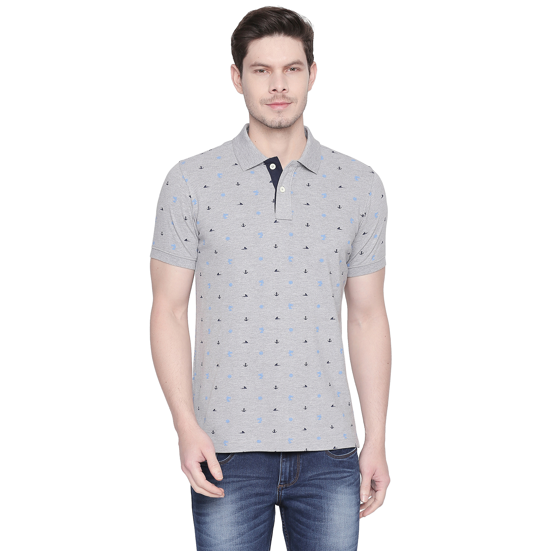 Basics | Basics Muscle Fit Heather Grey Printed Polo T Shirt-21BTS48068