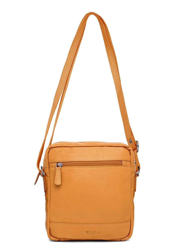 WildHorn | WildHorn Upper Grain Genuine Leather Ladies Sling, Cross-body, Hand Bag with Adjustable Strap - Yellow