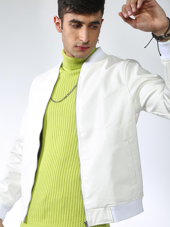 Blue Saint   Blue Saint Men's White Regular Fit Leather Jackets