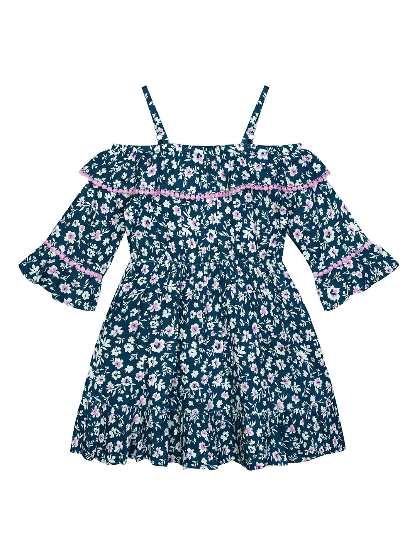 Budding Bees | Budding Bees Girls Blue Cold Shoulder Dress